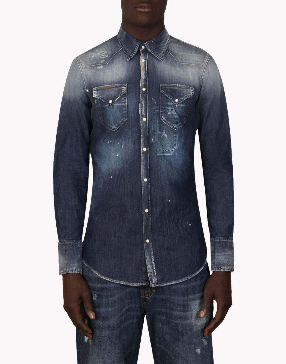 dsquared2 shirt chemise en jean pour homme boutique en. Black Bedroom Furniture Sets. Home Design Ideas