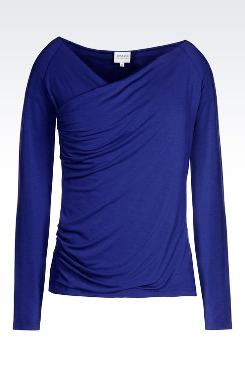 CROSSOVER V-NECK T-SHIRT IN STRETCH VISCOSE: Sweatshirts Women by Armani - 1