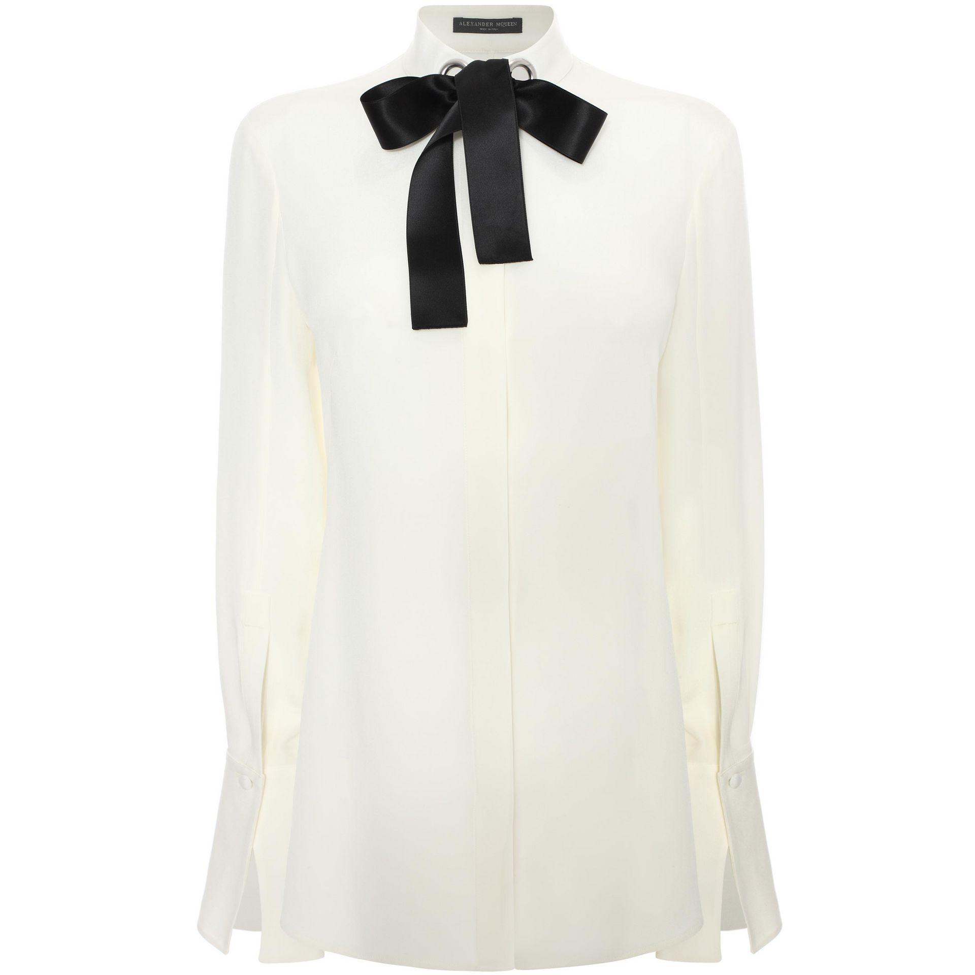 Eyelet ribbon shirt alexander mcqueen shirts tops for Mens eyelet collar dress shirts