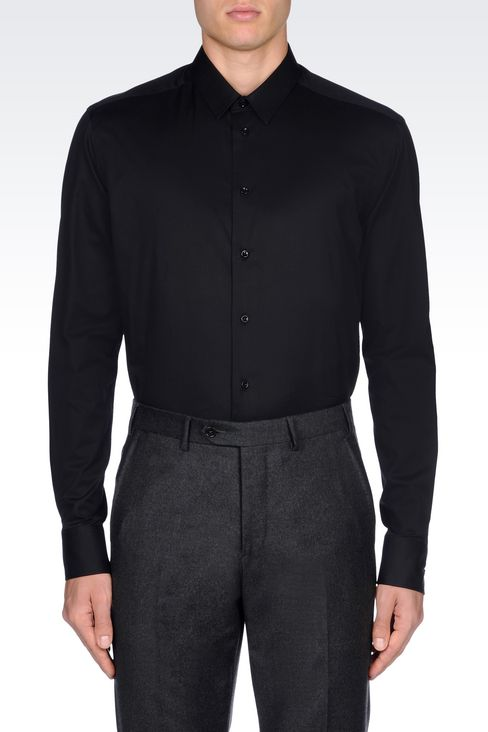 SHIRT IN STRETCH COTTON: Long sleeve shirts Men by Armani - 3