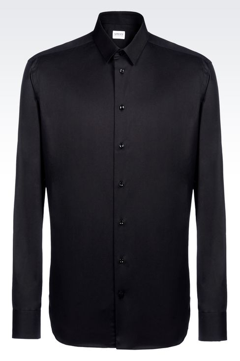 SHIRT IN STRETCH COTTON: Long sleeve shirts Men by Armani - 1