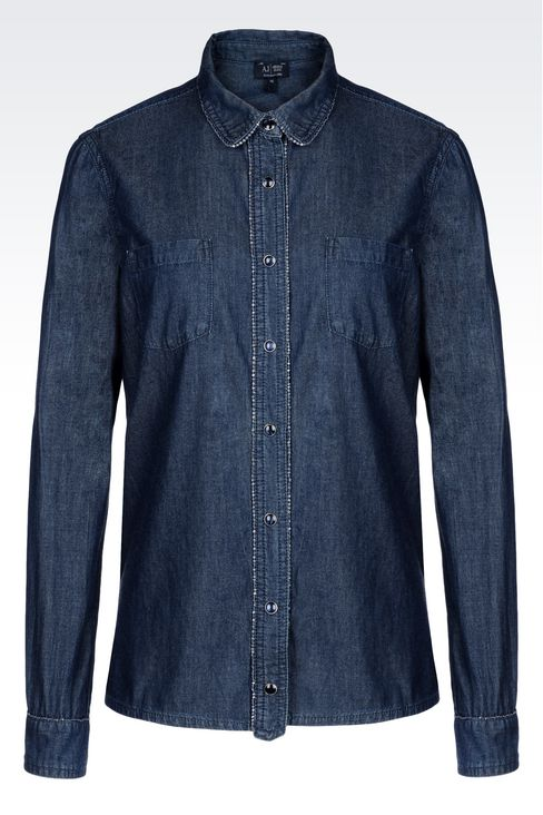 SHIRT IN VINTAGE COTTON CHAMBRAY: Long sleeve shirts Women by Armani - 1