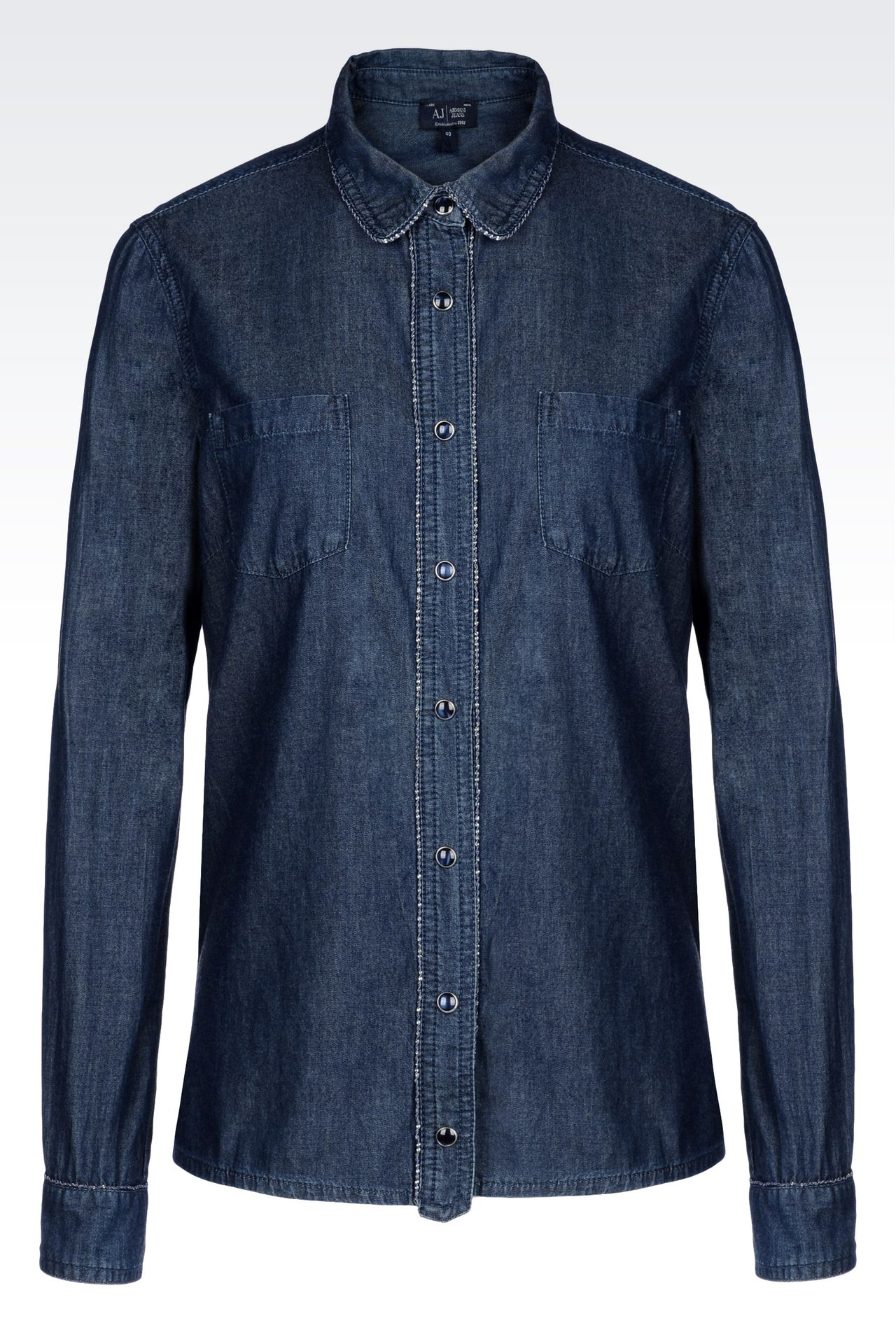 SHIRT IN VINTAGE COTTON CHAMBRAY: Long sleeve shirts Women by Armani - 0
