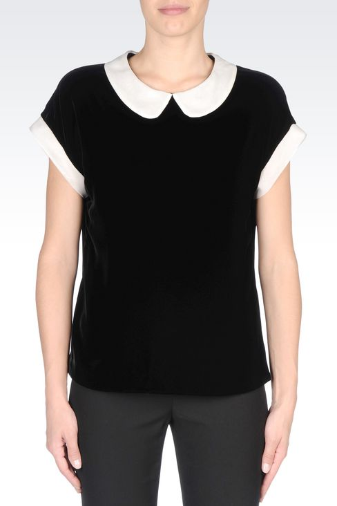 VELVET TOP WITH CLAUDINE COLLAR: Blouses Women by Armani - 3