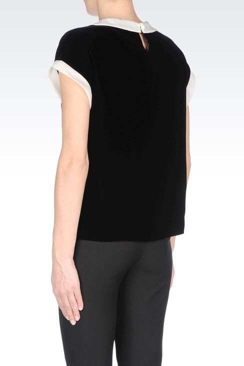 VELVET TOP WITH CLAUDINE COLLAR: Blouses Women by Armani - 4
