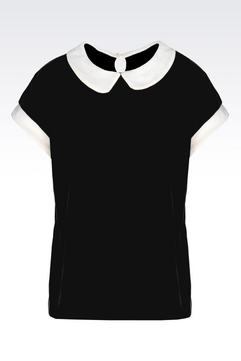 VELVET TOP WITH CLAUDINE COLLAR: Blouses Women by Armani - 1
