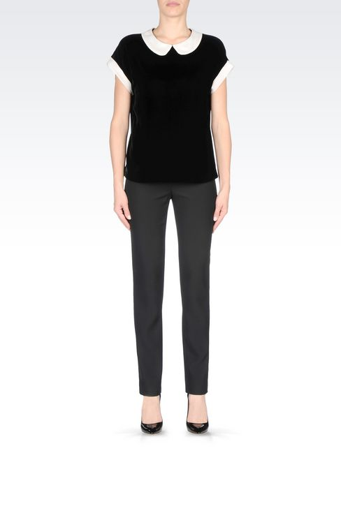 VELVET TOP WITH CLAUDINE COLLAR: Blouses Women by Armani - 2