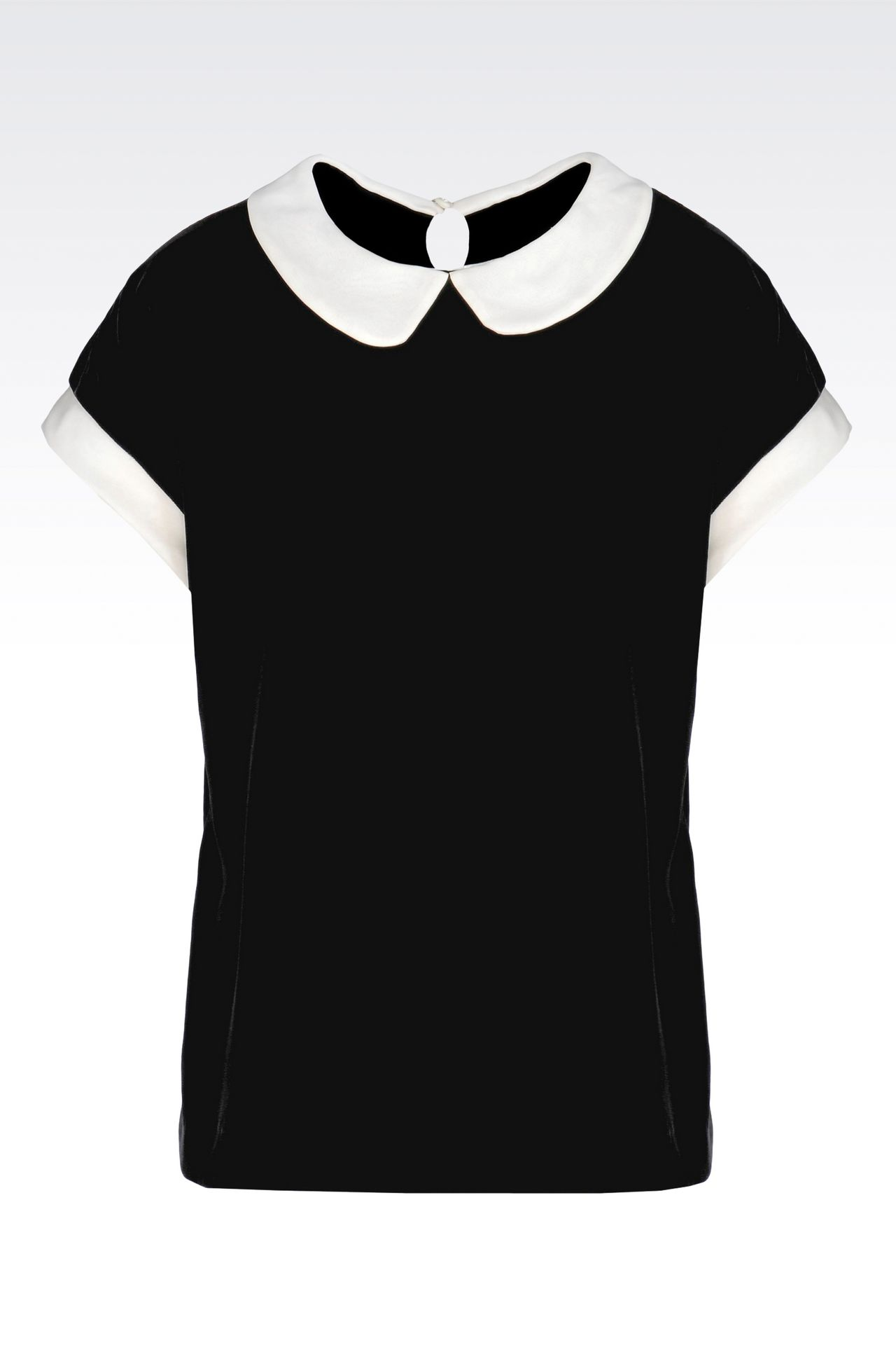 VELVET TOP WITH CLAUDINE COLLAR: Blouses Women by Armani - 0