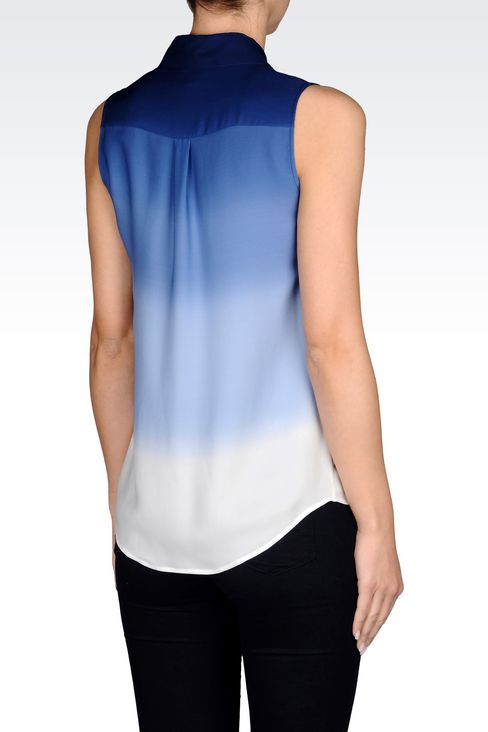 SHIRT IN TIE-DYE EFFECT SILK: Sleeveless shirts Women by Armani - 3