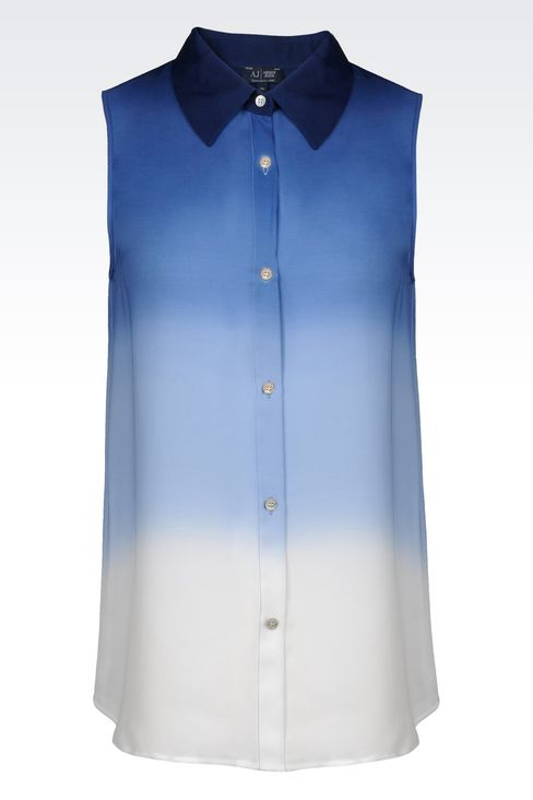 SHIRT IN TIE-DYE EFFECT SILK: Sleeveless shirts Women by Armani - 1