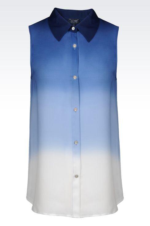 SHIRT IN TIE-DYE EFFECT SILK: Sleeveless shirts Women by Armani - 1