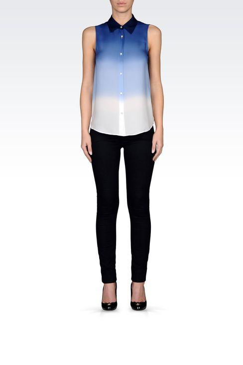 SHIRT IN TIE-DYE EFFECT SILK: Sleeveless shirts Women by Armani - 2