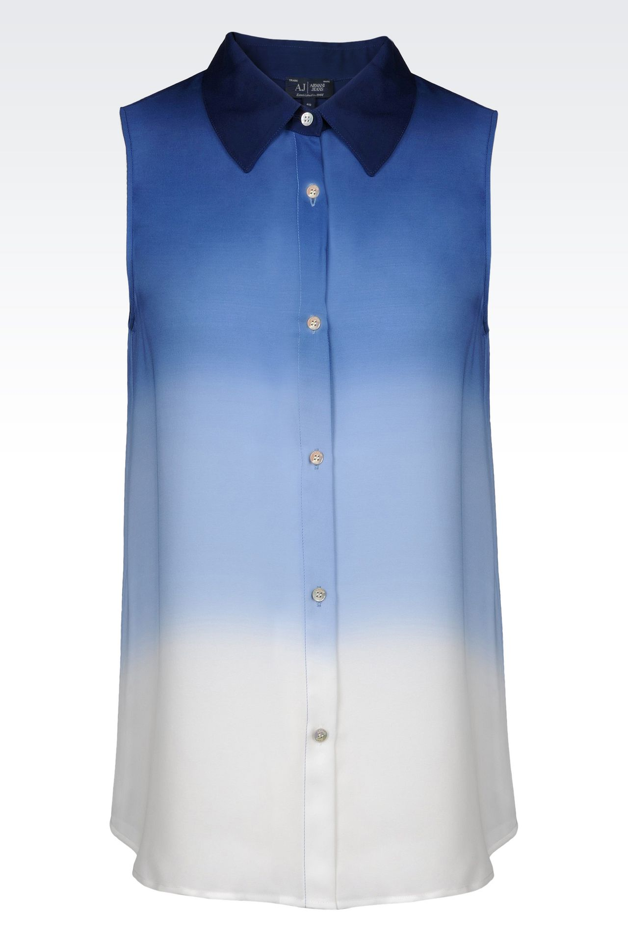 SHIRT IN TIE-DYE EFFECT SILK: Sleeveless shirts Women by Armani - 0