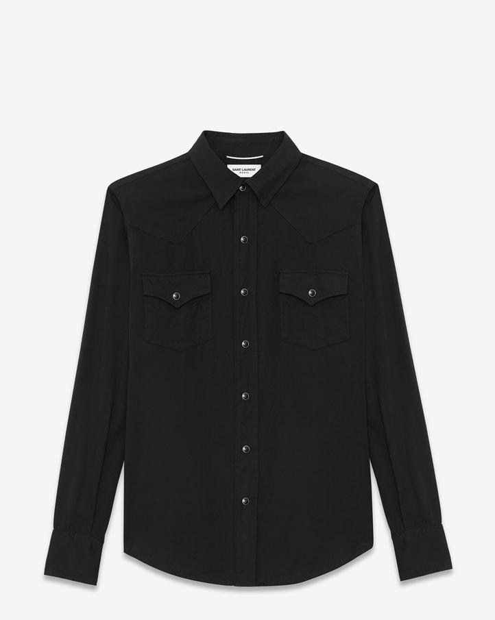 saint laurent classic western shirt in black twill