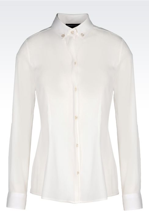 BUTTON DOWN SHIRT IN STRETCH GEORGETTE: Long sleeve shirts Women by Armani - 1