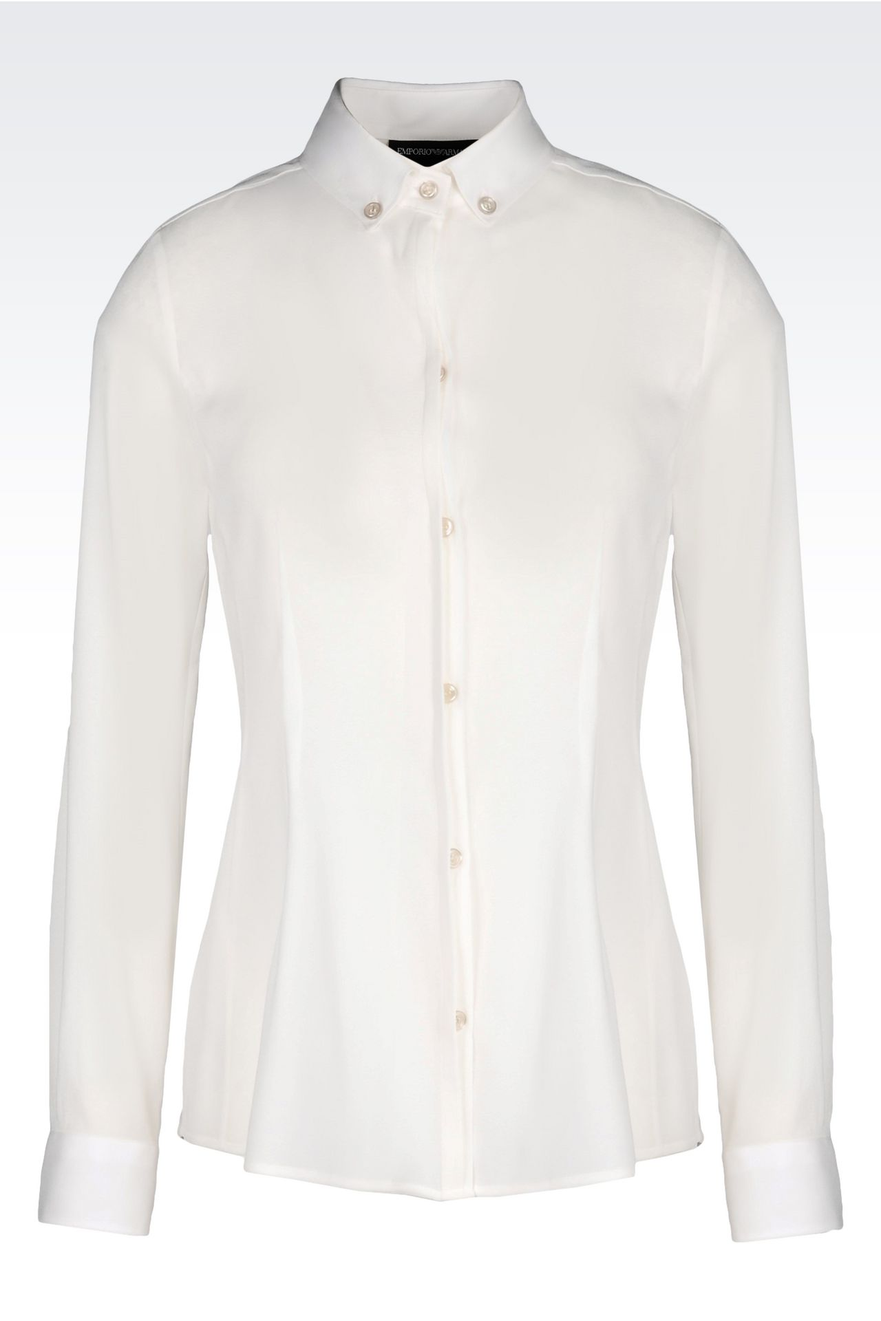 BUTTON DOWN SHIRT IN STRETCH GEORGETTE: Long sleeve shirts Women by Armani - 0