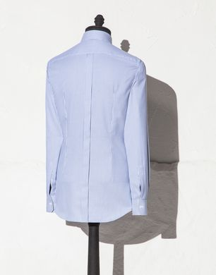 金灰色小领微图案修身衬衣