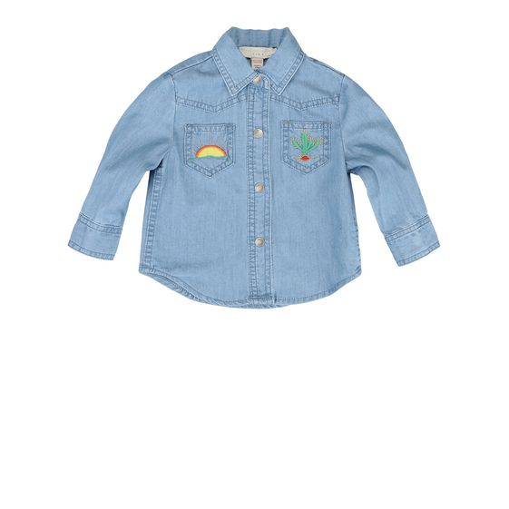 STELLA McCARTNEY KIDS, Blouses & Shirts, Cotton denim shirt featuring a pointed collar, snap button fastening and colored rainbow and cactus embroidered stitching.