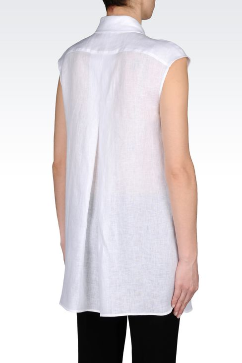 LONG LINEN SHIRT: Sleeveless shirts Women by Armani - 3