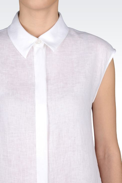 LONG LINEN SHIRT: Sleeveless shirts Women by Armani - 4