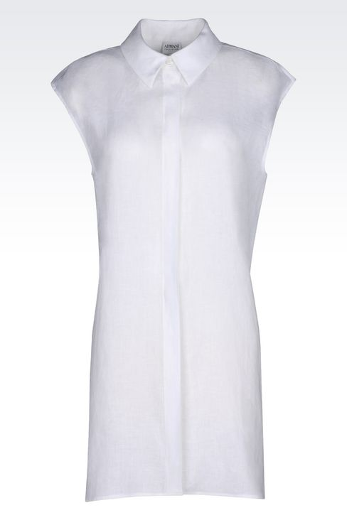 LONG LINEN SHIRT: Sleeveless shirts Women by Armani - 1
