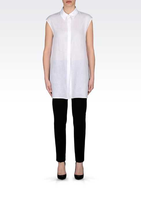 LONG LINEN SHIRT: Sleeveless shirts Women by Armani - 2