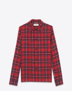 Camicia 50s rossa in lana scozzese tartan