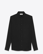 SIGNATURE YVES COLLAR SHIRT IN Black Viscose Twill