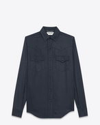 YSL 70s Western Shirt in Navy Blue Twill