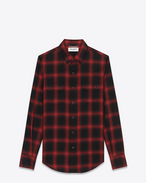 YSL Nashville Shirt in Black and Red Plaid Cotton and Tencel