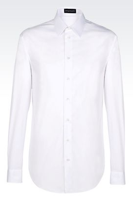 Armani Long sleeve shirts Men stretch cotton poplin shirt