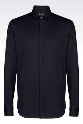 Armani Camicie maniche lunghe Uomo camicia in popeline di cotone stretch