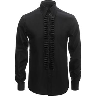 ALEXANDER MCQUEEN, Long Sleeve Shirt, Black Leather Ruffle Shirt