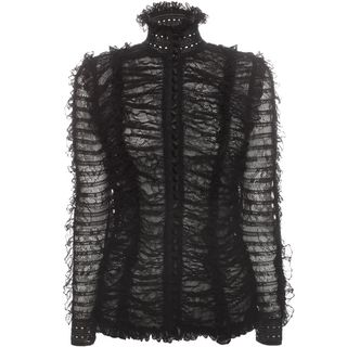 ALEXANDER MCQUEEN, Top & Shirt, Sheer Rouched Lace Knit Top