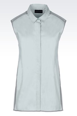 Armani Sleeveless shirts Women shirt in stretch poplin