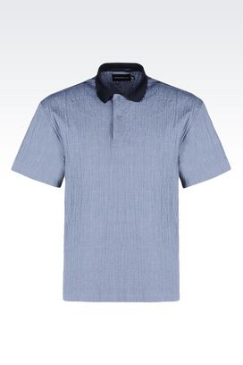 Armani Short sleeve shirts Men seersucker polo shirt