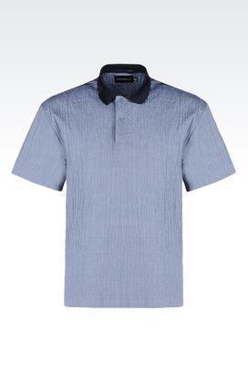 Armani Short sleeve shirts Men seersucker polo shirt