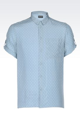 Armani Short sleeve shirts Men shirt in habotai