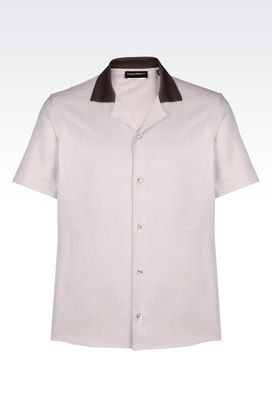 Armani Short sleeve shirts Men shirt in micro weave cotton