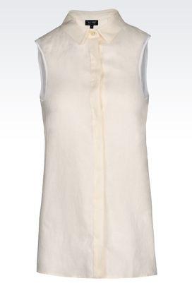 Armani Sleeveless shirts Women shirt in linen canvas