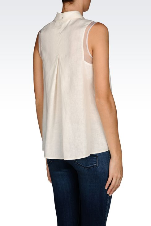 SHIRT IN LINEN CANVAS: Sleeveless shirts Women by Armani - 3