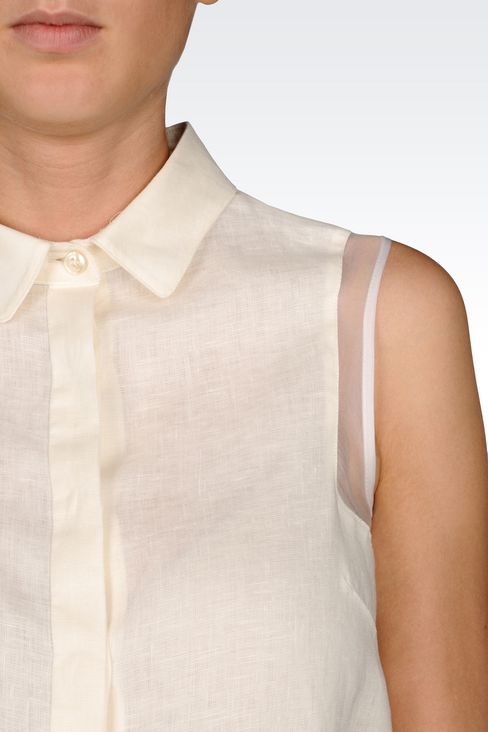 SHIRT IN LINEN CANVAS: Sleeveless shirts Women by Armani - 4