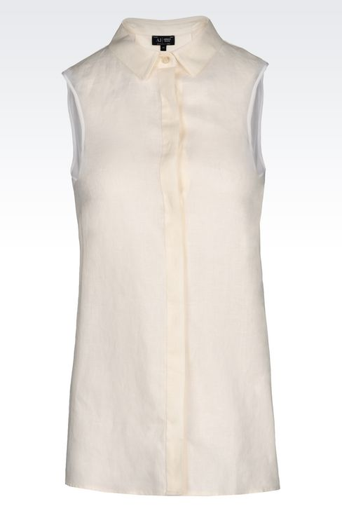 SHIRT IN LINEN CANVAS: Sleeveless shirts Women by Armani - 1