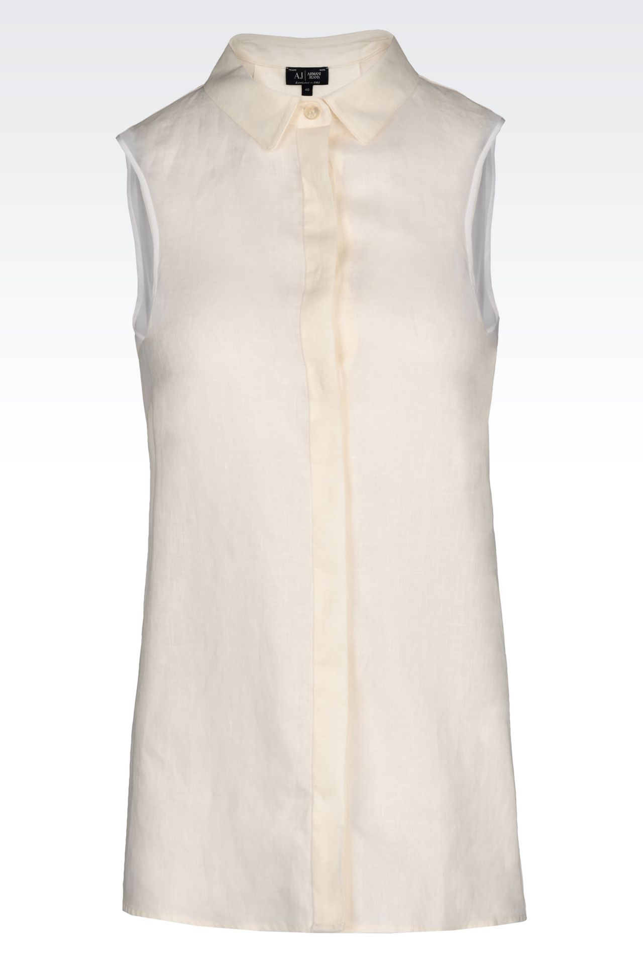 SHIRT IN LINEN CANVAS: Sleeveless shirts Women by Armani - 0
