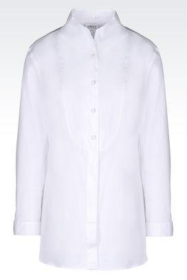 Armani Long sleeve shirts Women shirt in stretch poplin with v neckline