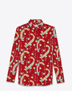 PARIS collar shirt in Red and Multicolor Kimono Printed Polyester