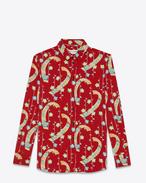 Hemd aus rotem Polyester mit buntem Kimonomuster und Paris-Kragen