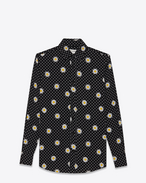 PARIS collar shirt in Black, Shell and Yellow Daisy Printed Viscose