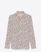 Camicia con collo PARIS multicolore in seta con stampa Star