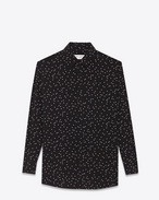 PARIS collar oversized shirt in Black and Shell Polka Dot Printed Silk